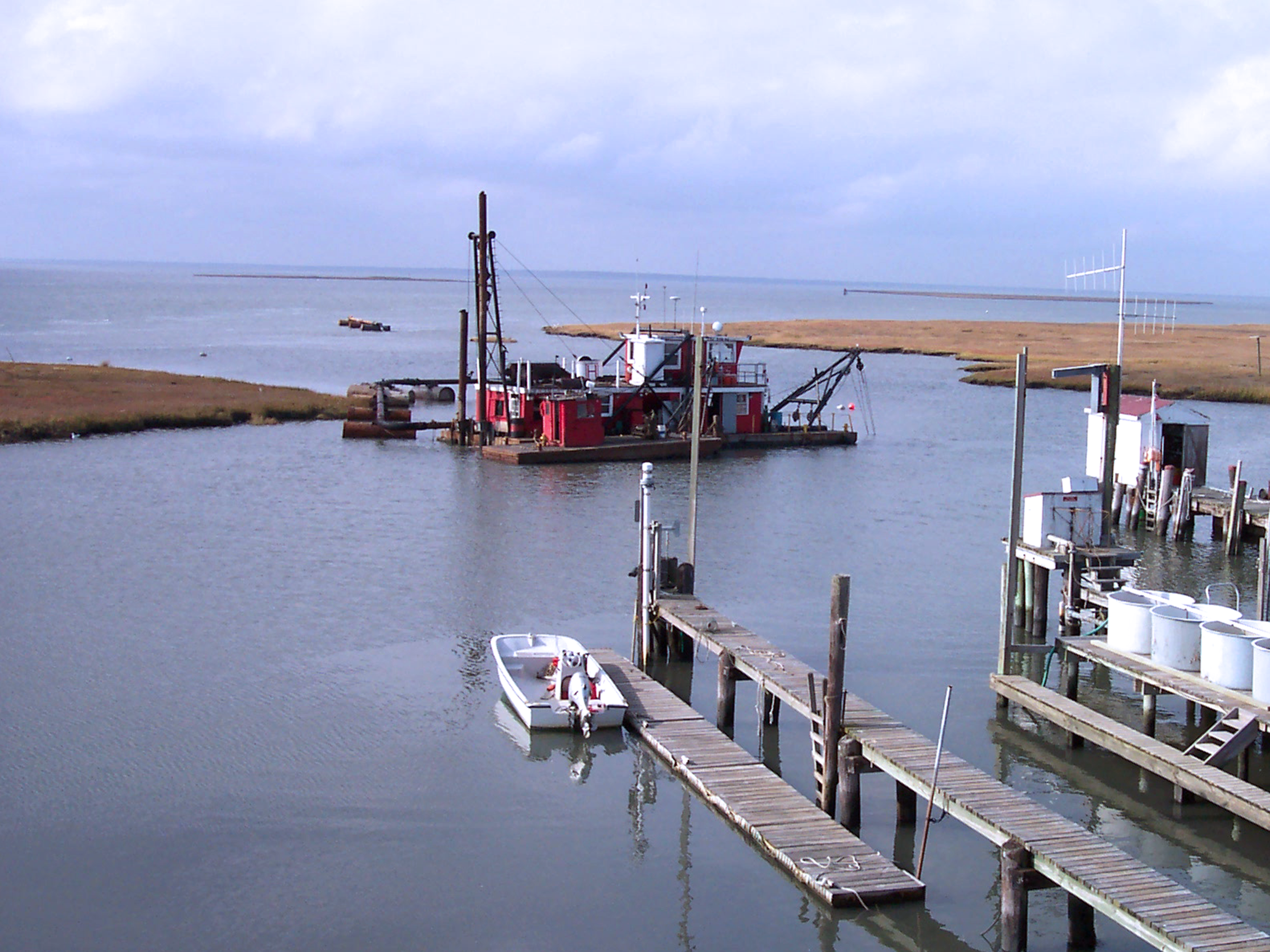 Dredging commences in the Rutgers University Marine Field Station boat basin