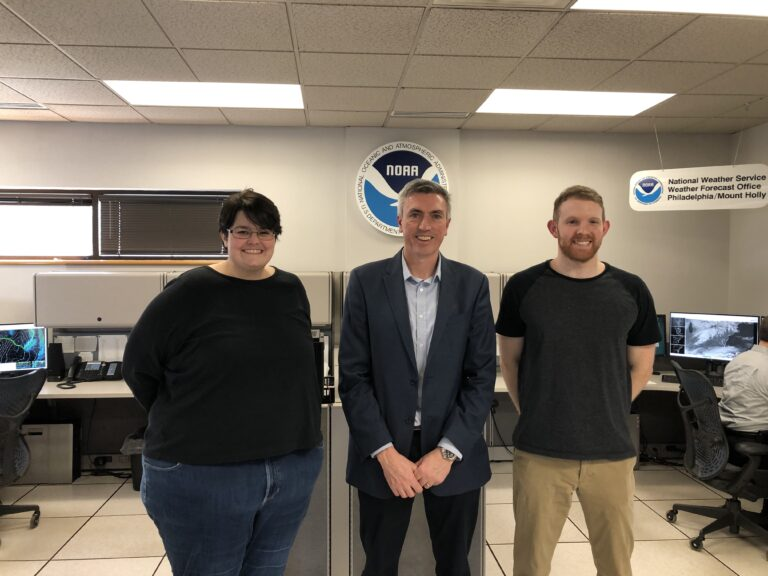 Ms. Sarah Johnson, Dr. Hugh Roarty and Mr. Nicholas Carr meet to discuss ocean observations for the   Philadelphia/Mt. Holly WFO area of responsibility (March 4, 2020).